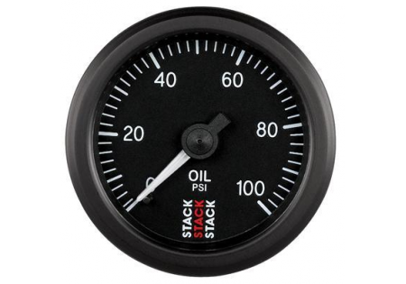 STACK 52mm Mechanical Oil Pressure Gauge - 0-100 psi