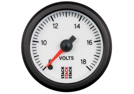 STACK 52mm Pro Stepper Analog Battery Voltage Gauge - 8-18V White