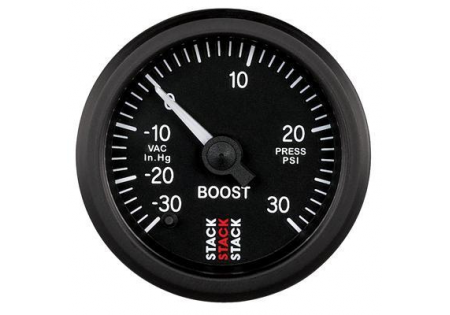 STACK 52mm Pro Stepper Analog Boost Gauge - 30inHg to 30psi